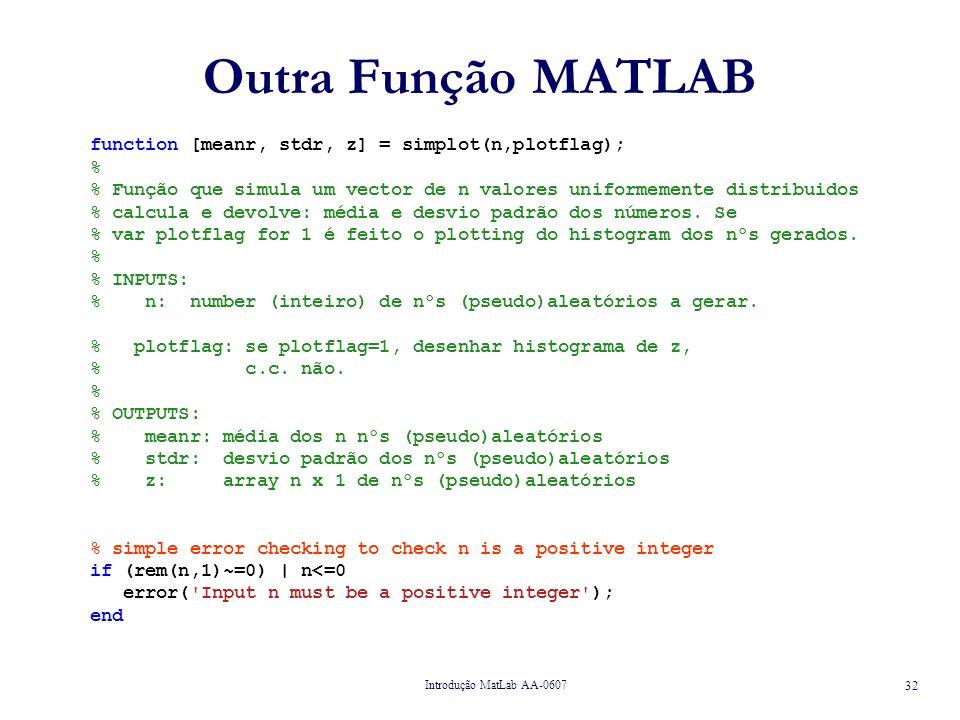Outra Função MATLAB function [meanr, stdr, z] = simplot(n,plotflag); %